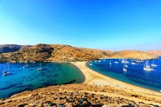 Location Porto Klaras Kolona Beach on kythnos island in the Cyclades