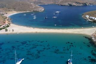 about kythnos porto klaras famous kolona crystal blue beach