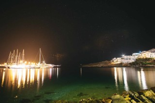 about kythnos porto klaras island night view of the elegant boats and yachts