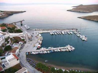 about kythnos porto klaras Loutra port view from high point