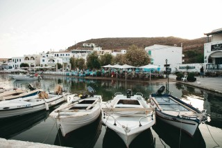 about kythnos porto klaras small boats in the port of Loutra village