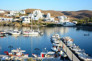 about kythnos porto klaras the picturesque loutra port with small boats