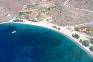 beaches porto klaras aegean sea view from above in Kythnos