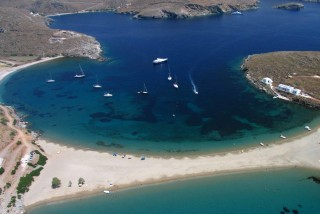 beaches porto klaras kolona is one of the most impressive beaches of Kythnos Island and of the Cyclades