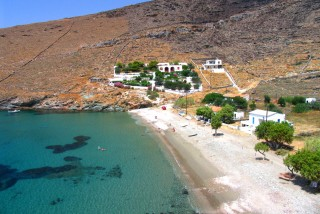 beaches porto klaras sandy beach near local houses in Kythnos