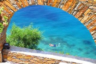 beaches porto klaras snorkeling in crystal clear beach on Kythnos Island