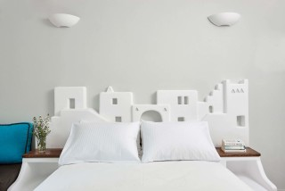 family suites porto klaras cycladic double bedroom with t-in head restraints