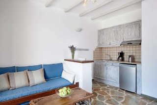 family suites porto klaras big living room next to the fully equipped kitchen