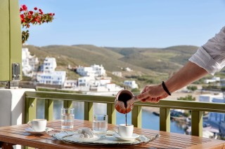 family suites porto klaras big veranda with sea view of Kythnos where you can drink Greek coffee