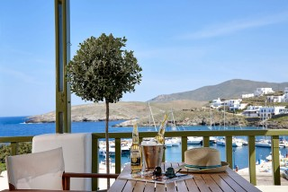 food porto klaras studio's sea view balcony overlooking kythnos island