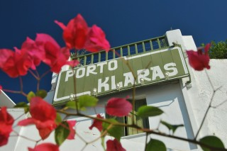 gallery porto klaras sign in the balcony of our Kythnos Studios