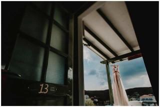 weddings porto klaras bride dress hanging in kythnos balcony