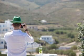 VIP studios porto klaras big balcony with Kythnos landscape view