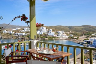 superior studio porto klaras balcony with sea view, table and greek coffee