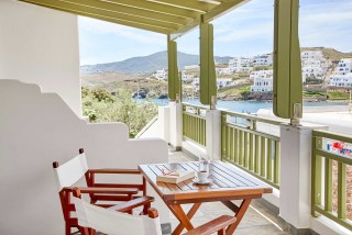 superior studio porto klaras balcony with sea view where you can read a book or drink greek coffee
