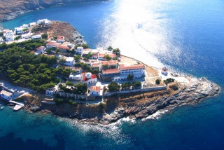 about kythnos porto klaras island view from above: local houses and the Aegean Sea