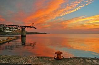 about kythnos porto klaras romantic sunset on Kythnos Island and the sea