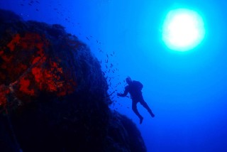 activities porto klaras scuba diver in the depths of Kythnos Sea