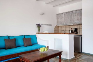 family suite porto klaras big living room next to the fully-equipped kitchen