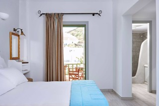standard studios porto klaras bedroom with balcony and amazing view