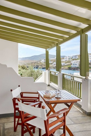 superior studios porto klaras veranda with amazing sea view and tables